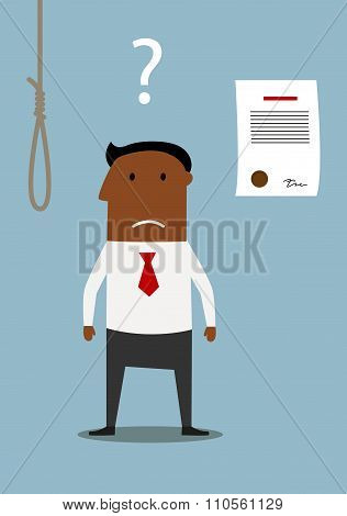Bancrupt businessman thinking about debt noose