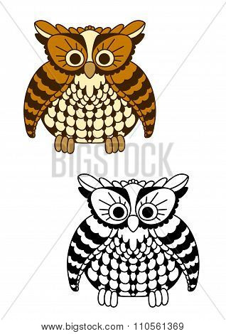 Fluffy owl bird with brown and yellow plumage