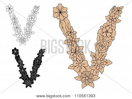 Letter V with retro floral elements