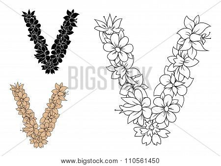 Floral letter V with retro stylized flowers