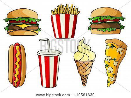 Pizza, burger, hot dog, french fries, ice cream
