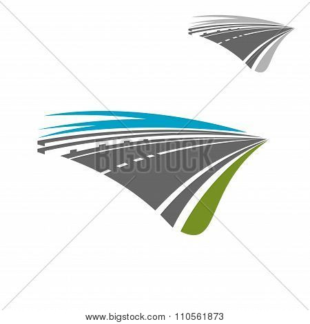Express highway road with blue sky abstract icon