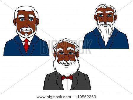 Cartoon old bearded men in elegant suits