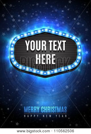 Shining retro light frame banner template in Christmas and Happy new year style on blue snow backgro