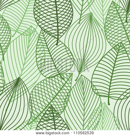 Green foliage seamless pattern of outline leaves
