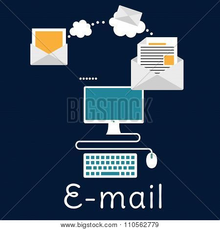 Sending and receiving e-mail concept