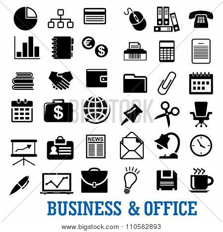 Business, finance and office flat icons set