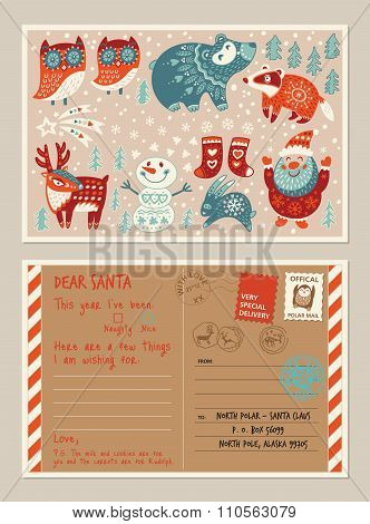 Christmas holiday post card and envelope with cute stamps