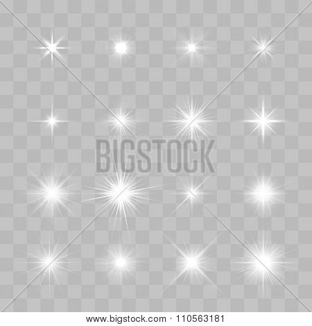 Set of Vector glowing light effect stars bursts with sparkles on transparent background. Transparent