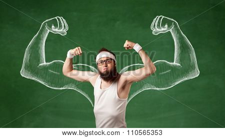 A young male with beard and glasses posing in front of green background, imagining how he would look like with big muscles, illustrated by white drawing concept.