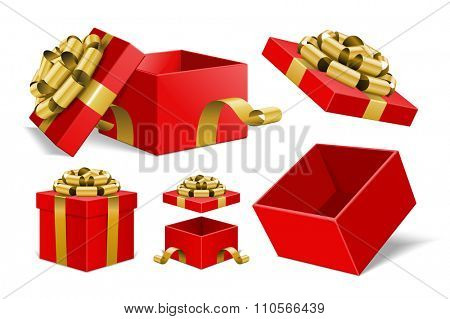 Red Gift Boxes and with golden bow ribbon vector design elements set isolated on white background.
