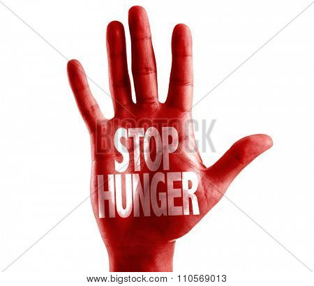 Stop Hunger written on hand isolated on white background