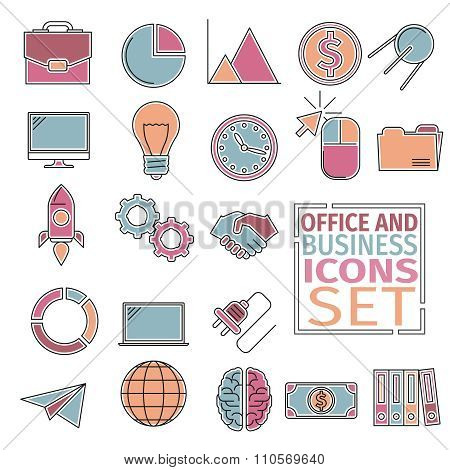 office and bussines icons four colors