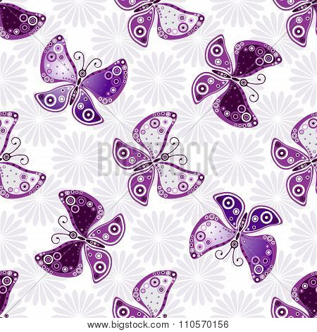 Seamless Floral Pattern With Violet Butterflies