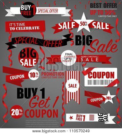 Price tag, sale coupon, voucher. Vector illustration.