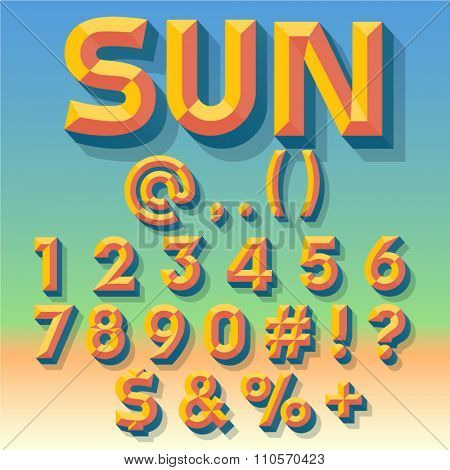 Vector 3D summer set of simple bold beveled numbers and symbols with shadow. Multicolored version.