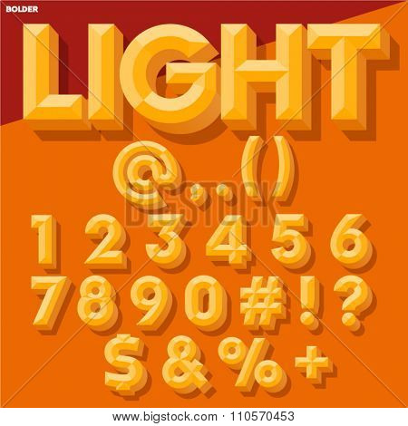 Vector 3D yellow set of simple bold beveled numbers and symbols with shadow. Simple colored version.