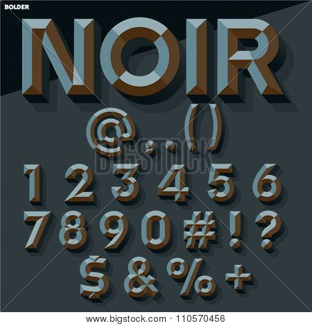 Vector 3D black set of simple bold beveled numbers and symbols with shadow. Gothic version.