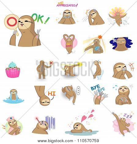 Cute And Funny Cartoon Sloth Character Mascot In Various Action And Expression Icon Collection Set I