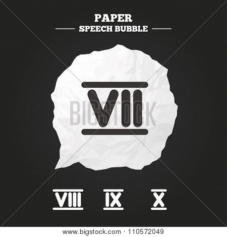 Roman numeral icons. Number seven, nine, ten.
