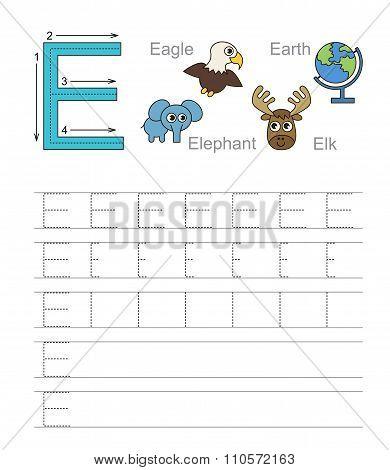 Letter E. Learn handwriting.