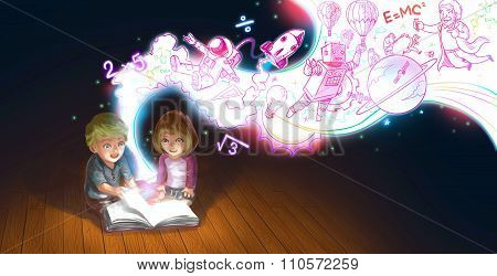 A Cute Cartoon Couple Of Caucasian Children Boy And Girl Are Reading Book On The Floor While Their E