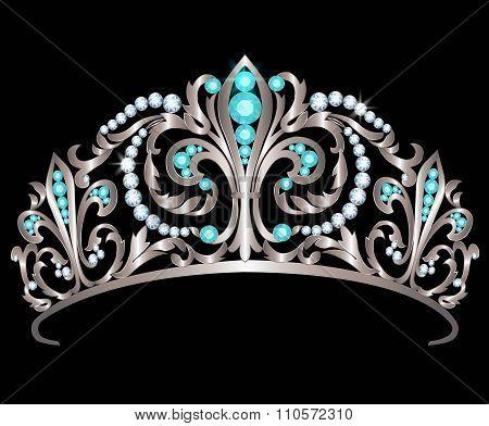 Diadem with diamonds and aquamarines