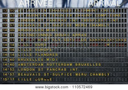 Arrivals and departure board in train station in Paris France