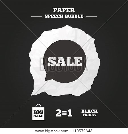 Sale speech bubble icons. Black friday symbol