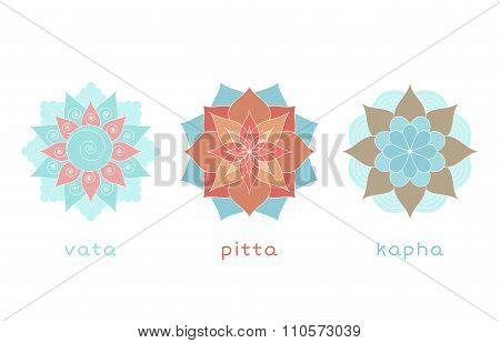 Set Of Ayurvedic Doshas Icons