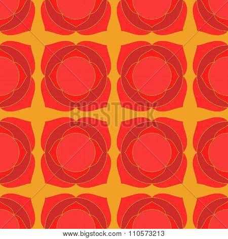 Red lotus geometric seamless pattern