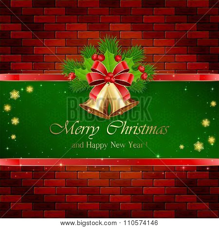 Christmas Decorations With Red Bow On Brick Wall