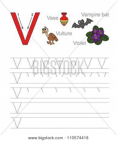 Letter V. Learn handwriting.