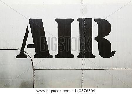 Air label written on an aircraft