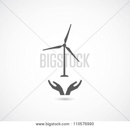 hands support wind turbine balck icon
