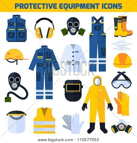 Protective Uniforms Equipment Flat Icons Set