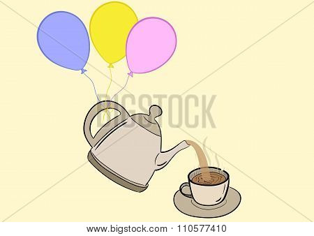 Teapot on balloons
