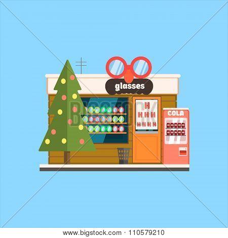 Glasses Shop Front in Christmas. Vector Illustration