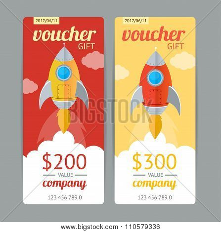 Modern Gift Voucher with Rocket Fly. Vector