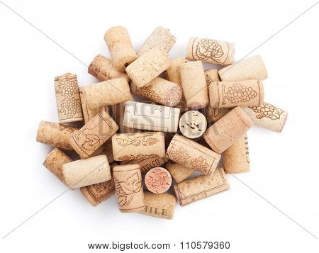Wine corks heap. Isolated on white background