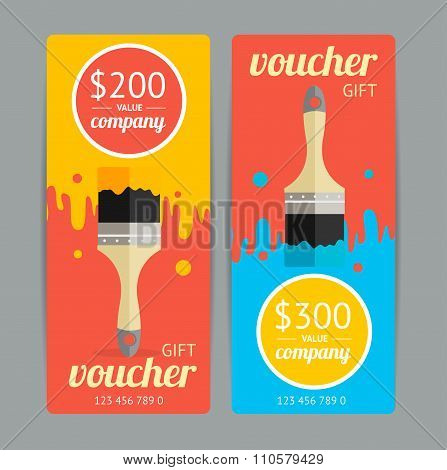 Modern Gift Voucher with Paint Brush. Vector
