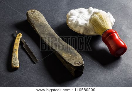 Old Razor With Sharpening Leather, Brush And Foam