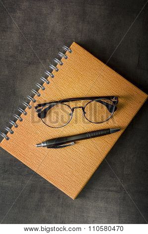 Office Supplies And Glasses.