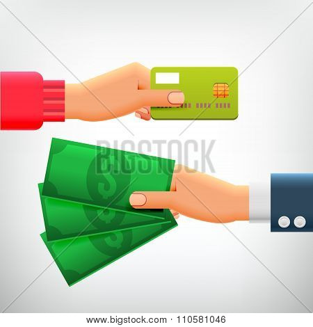 Hand With Credit Card And Hand With Cash
