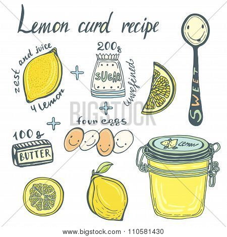 Homemade Lemon Curd Recipe Book Page. Vector Illustrated Ingredients And Jar