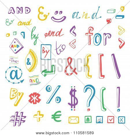 Colorful Social Media Sign And Symbol Doodles Set. Catchwords And, For, To, The, By. Vector Design