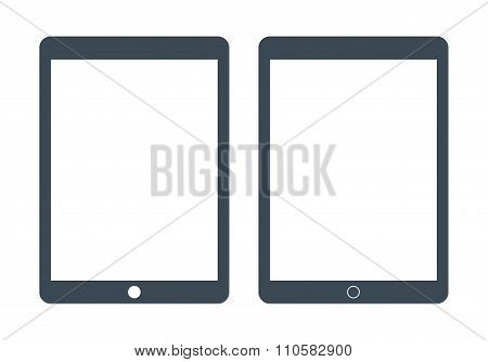 Tablet Icons Set Gray Color On The White Background. Stock Vector Illustration Eps10