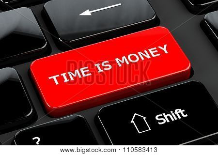 Time Is Money On Computer Keyboard Background