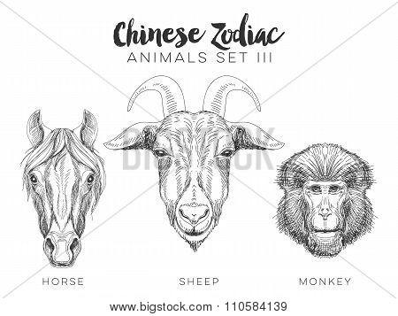 Vector set of hand drawn chinese zodiac animal.