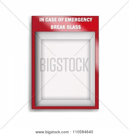 Empty emergency glass case